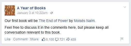 Mark Zuckerburg - reading book suggestion page