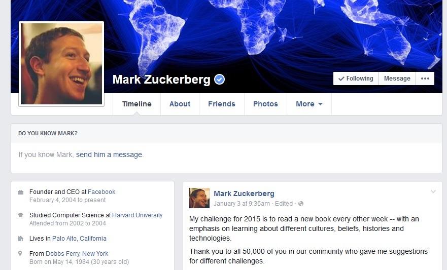 mark zuckerburg 2015 facebook profile