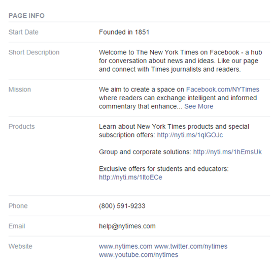 FB business page information
