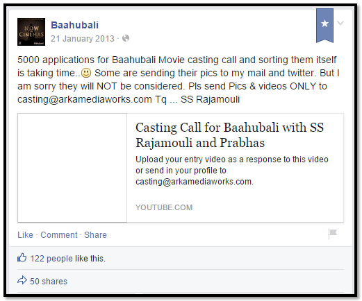 Baahubali Facebook marketing