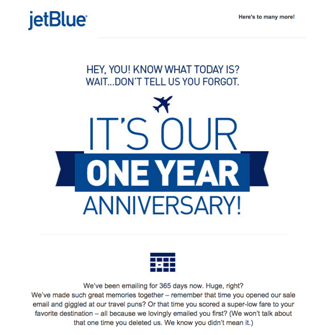 JetBlue email marketing design