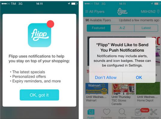 Push notifications for app engagement