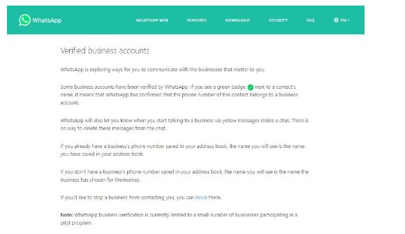 whatapp business verification