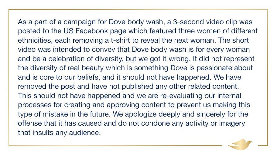 Dove's Apology Tweet in the US