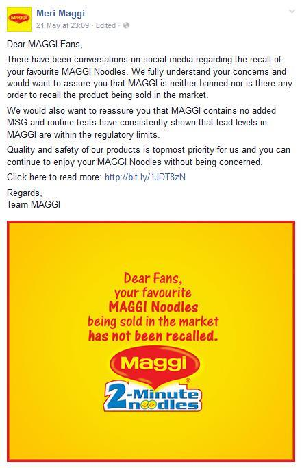Maggi being not recalled message by Maggi official page