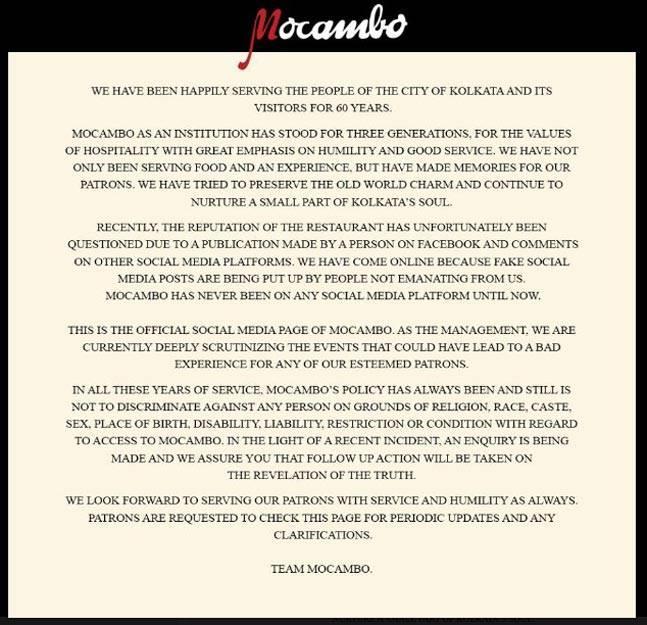 Mocambo Apologies