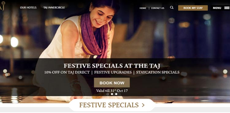 The Taj hotel website design