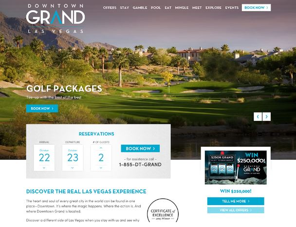 downtown grand hotel website design