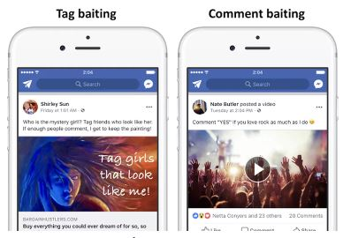 tag baiting and comment baiting