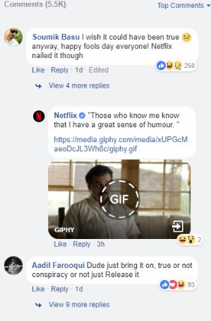 Netflix facebook april fool's day post