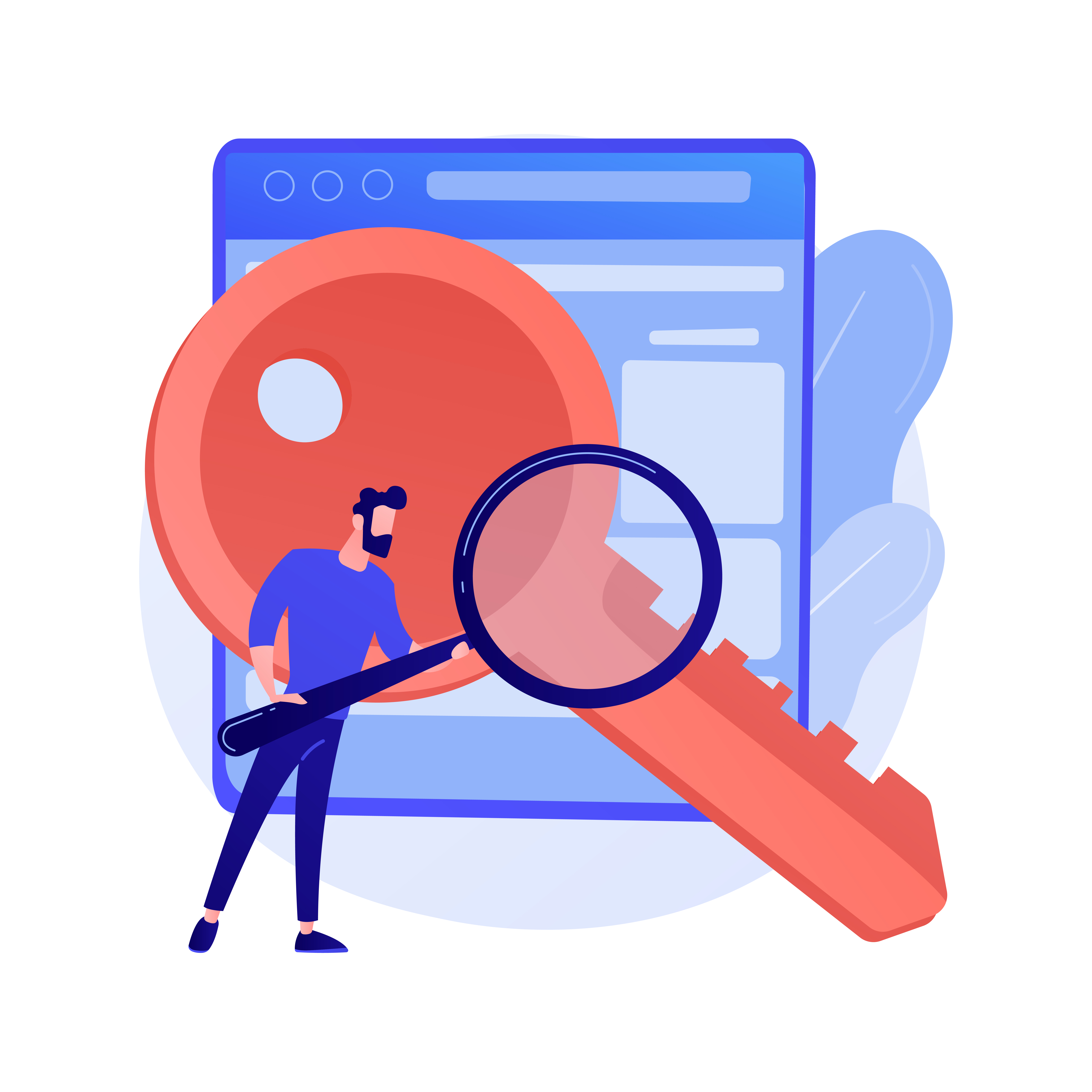 man holding a magnifier doing keyword research using some best seo tools 2021